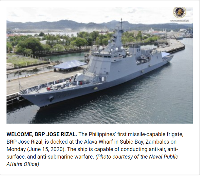 PH Navy Formally Welcomes Missile-frigate BRP Jose Rizal